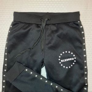 """Lit 26 Black """"Blessed"""" Jogger Pants with Stars"""